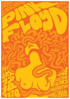 pink floyd concert posters | PINK FLOYD 17 April 1970 Philadelphia retro by tarlotoys on Etsy