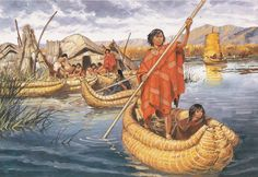 Uru people in their reed islands over Lake Titicaca. Originally, the Uru built their islands to keep themselves safe from their enemies, but then they turned it in their lifestyle, making ships and canoes to move through the lake and near rivers