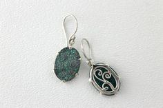 Quartz Drusy Green Blue Earrings in sterling silver wire hooks.