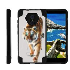 ZTE Imperial Max Case, ZTE Max Duo Hard Case, Grand X Max 2 Case [SHOCK FUSION] High Resistant Hybrid Dual Layer Case with Hard Kickstand by Miniturtle® - Blazing Tiger