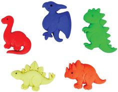 The funniest Dino Pets novelty buttons are ready to enhance your knitting, crocheting, sewing, quilting or craft project.   • Measure approximately 1.25 inches • Button is a snap-together with a self shank  • COLOR: Assorted shades, as shown in the picture. • Five pieces