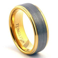 Mens Gold Tungsten Ring Wedding Band Brushed Jewelry http://www.lovieartjewelry.com/Mens-Gold-Tungsten-Ring-Wedding-Band-Brushed-Jewel-p/tcr030.htm