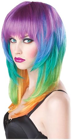 PartyBell.com - Kaleidoscope Adult Wig will perfectly match with your Mardi Gras costume