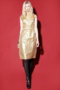 ON SALE for $25! Vintage 1960s Metallic Gold Brocade Dress http://thriftedandmodern.com/vintage-1960s-metallic-gold-foil-dress