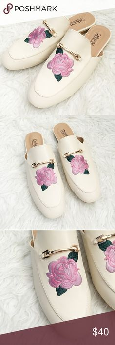 Floral Cream Slip On Shoes In amazing condition, new without the box. They have been tried on once, but never worn outisde of the house. Available in 8 and 10, essential for any trendsetter! No trades please x Catherine Malandrino Shoes Flats & Loafers