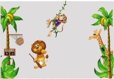 Jungle Baskeball Animal Mural - covers a 12' wide wall this kit is AWESOME. http://www.vinyl-decals.com/jungle_baskeball_mural-WA-JungleBasketballMural.php