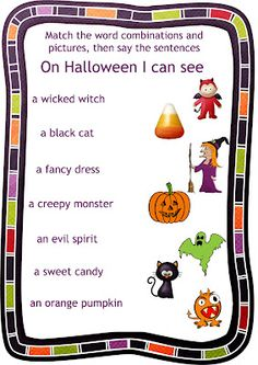 Halloween worksheet 3 for the song