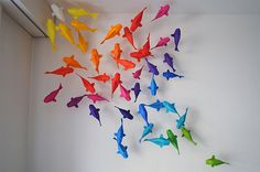 Paper rainbow fish!! I want to learn how to do this and make a million!