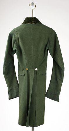 Green coat, Regency era. Back. Via Experiments in Elegance.