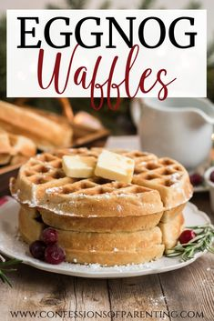 This Eggnog waffle recipe is a staple during the holiday season. It is the perfect treat for breakfast dinner or even dessert. Out of all the eggnog waffle recipes this is the best I have ever had! Eggnog Waffle Recipe, Best Eggnog Recipe, Best Waffle Recipe, Waffle Maker Recipes, Breakfast Waffles, Pancakes And Waffles, Breakfast Dishes, Breakfast Recipes, Gourmet Recipes