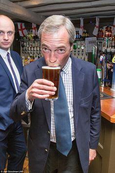 Nigel Farage having a pint