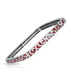 Constellations by Belle Etoile: Royale Red & White Square Bangle. Fashion Jewelry. 925 Sterling Silver. Italian Enamel.