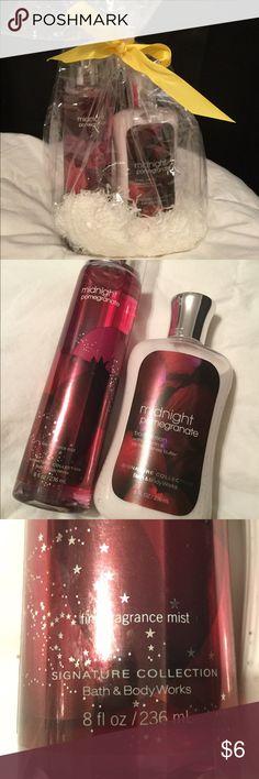 Bath & Body Work gift set Bath & Body Work Midnight Pomegranate gift set, includes 8 fl oz fragrance mist and 8 fl oz body lotion) bath and body works Other