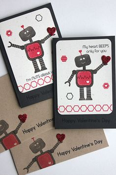 Robot Valentine's Day Cards by Heather Nichols for Papertrey Ink (December 2014)
