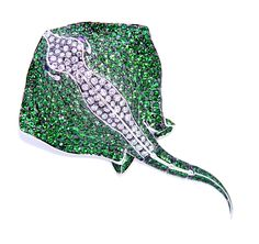 Stephen Webster 18-carat White Gold Couture Stingray Brooch with White Diamonds and Tsavorites.