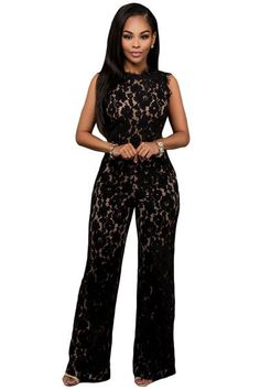 b85293de2753 Sexy Black Lace Nude Illusion Back Cutout Jumpsuit Rompers! jumpsuits    rompers