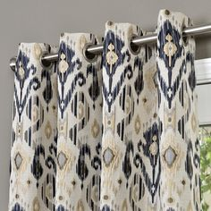 Erica Textured Jacquard Ikat Room Darkening Grommet Single Curtain Panel When considering to master Blue Curtains Living Room, Ikat Curtains, Navy Blue Curtains, Dining Room Curtains, Grommet Curtains, My Living Room, Panel Curtains, Drapery, Plaid Curtains