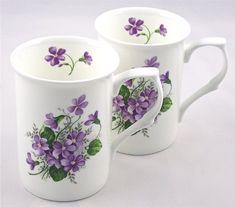Fine English Bone China Mugs - Set of Two - Wild Violet Spray Chintz for sale online Mugs Set, Tea Mugs, Café Chocolate, Sweet Violets, China Cups And Saucers, Cool Mugs, China Mugs, My Cup Of Tea, Tea Cup Saucer