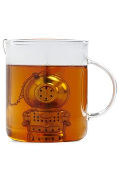Ridonk cute in a clear mug.  Deep Tea Diver Infuser from ModCloth, $14.99