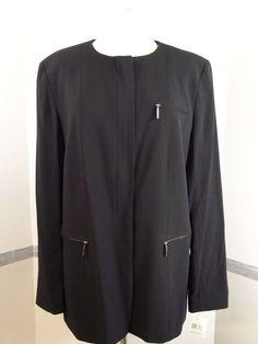 DKNY Womens Long Zip Front Wool Blend Black, Solid Dress Jacket Size 14 #DKNY #DressSuitJacket