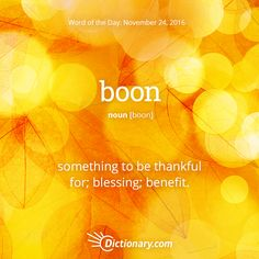 Dictionary.com's Word of the Day - boon - something to be thankful for