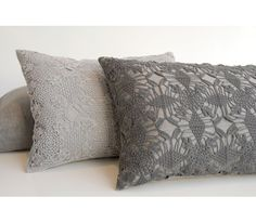 VIOLET #linen decorative #pillows by Area, Inc. feature hand crochet detail available in ash, shadow, and ivory. #design #interiordesign #interiordesignmagazine #interiors #accessories #residential #accent #throw #decorative #fabric