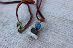 Rock Cairn Necklace, Rock Cairn Pendant, Stone Pendant, Lapis Jasper Kunzite, Leather Cord, Hiker, Rock Climber, Rock Climbing, Men Necklace