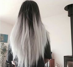 New Hair Black Silver Ombre Ideas Black To Silver Ombre, White Ombre Hair, Black White Hair, Silver Ombre Hair, Best Ombre Hair, Ombre Hair Color, Grey Balayage, Balayage Hair, Ombre Highlights