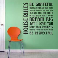 "Amazon.com: House Rules Wall Quote Decal Black 22"" x 24"": Home & Kitchen"