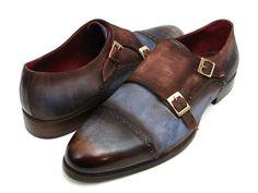 Paul Parkman Handmade Shoes, Paul Parkman Men's Captoe Double Monkstrap Antique Blue & Brown Suede (ID#045AN14)
