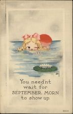 SEPTEMBER MORN A/S Bernhardt Wall Little Girl Swimming by Lily Pad c1910 PC