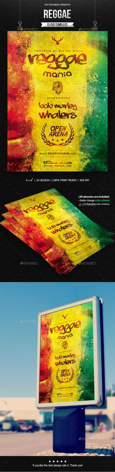 Awe-inspiring PSD Reggae Flyer Template • Only available here ➝ http://graphicriver.net/item/reggae-flyer/12372420?ref=pxcr