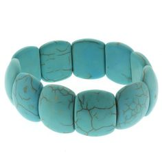 "7.5"" Turquoise Howlite Beads Stretch Bangle Bracelet 20mm  Price:	$9.99"