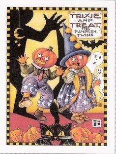 Trixie Treat The Pumpkin Twins Halloween Fridge Magnet Mary Engelbreit Artwork | eBay