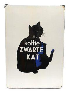Botterweg Auctions Amsterdam Enamel advertising board for Zwarte kat koffie after A.Cassandre Charkov 1901 – Paris 1968 for the Belgian department of Douwe Egberts 1953 Cat Mouse, Back In Time, Do You Remember, Cat Art, Vintage Posters, Childhood Memories, Art Decor, Advertising, Batman