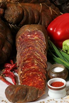 Kulen - farmers sausage - Slavonian specialty (Croatia) - dried meat, red paprika and some other condiments (slightly differing from farm to farm)