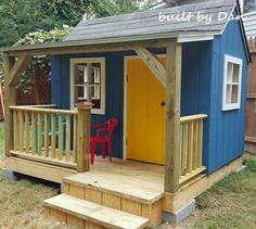 Free Plans to Help You Build a Playhouse for the Kids: The Wendy House Playhouse Plan by BuildEazy (Shed Plans With Porch) Kids Playhouse Plans, Outside Playhouse, Backyard Playhouse, Build A Playhouse, Wooden Playhouse, Girls Playhouse, Backyard Fort, Pallet Playhouse, Building A Shed