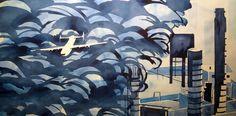 """Blue Rain"" 30'' x 16''. watercolor"