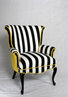 Black and white stripe chair with yellow velvet. Vintage wing back chair mid century modern chair. Element 20 designs. I'd either replace the yellow with red or with black