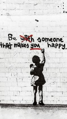 Banksy Be Someone That Makes YOU Happy Original Street Art Painting Print Canvas Street Art Banksy, Banksy Graffiti, Banksy Girl, Banksy Artwork, Bansky, Banksy Canvas Prints, Berlin Graffiti, Inspirational Quotes Pictures, Art Quotes