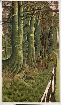 'The Woodlanders' by Simon Palmer (watercolour) Green Landscape, Landscape Art, Landscape Paintings, Landscapes, Leave Art, Woodland Art, History Images, Painting Collage, Dark Places