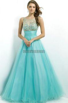 Natural Waist Princess Full Back Long Tulle Prom Dress