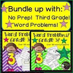 Save 20% on this NO Prep Math Word Problems-SET A and B! Grade 3! That's over 200 word problems! That's 37 pages of problems!  Your students will love these problems!  Some are straight forward computation and others are multi-step!