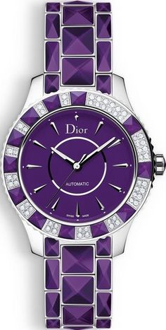 Dior's Purple Christal features a turning bezel set with diamonds and purple sapphire crystal pyramids. Approximating at about 56 carats, the crown set with a purple sapphire crystal insert lends the watch a feminine appeal. The Purple, Purple Stuff, All Things Purple, Shades Of Purple, Purple Colors, Purple Baby, Christian Dior, Color Violeta, Purple Fashion
