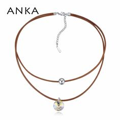 ANKA double layer shinning round crystal choker necklace Crystal from Swarovski for women fashion necklace jewelry gift #125137