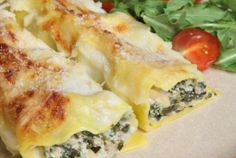 Cannelloni with Ricotta and Spinach. I added toasted pine nuts next time sauted portabellas a must!