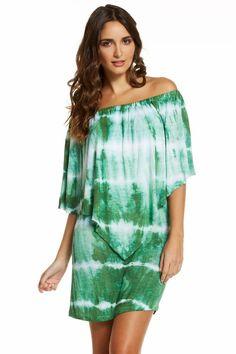 SALE Elan Off the Shoulder Dress or Tunic with Draped Overlay Ripple Dye GREEN Medium #Elan #Tunic #Casual