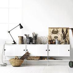 string regalsystem mit 9 wei en fachb den und 2. Black Bedroom Furniture Sets. Home Design Ideas