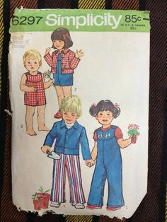 VTG 70's Simplicity 6297 Sewing Pattern Toddlers Jacket & Overalls T2 Breast 21
