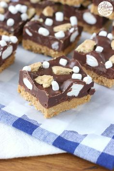 No Bake Dark Chocolate Peanut Butter S'mores Bars